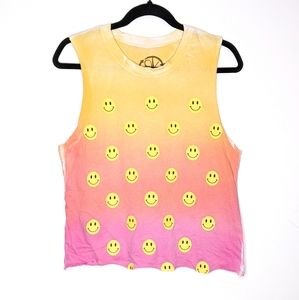 ☮️ Recycled Karma Ombre Dyed Happy Face Tank Top